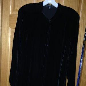 EILEEN FISHER - Black Velvet Shirt Dress -Like New